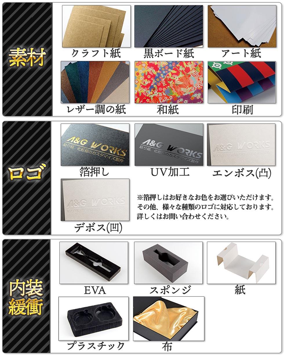 クラフト紙・黒ボード紙・アート紙・レザー調の紙・和紙等を使用して貼り箱を制作いたします。